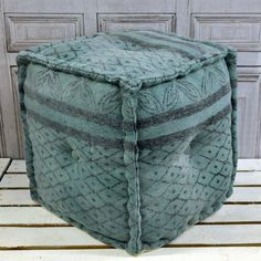 Blue Green Kilim Fabric Footstool