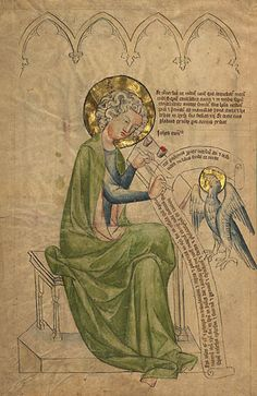 Saint John the Evangelist Writing, Apocalypse, Tempera colors, gold leaf, and ink on parchment, 1340 - 1350, MS. 108, v (Getty Museum)