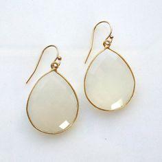 big white onyx drop earrings with vermeil bezel by KKSparkles