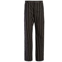 Balenciaga Straight-leg striped trousers ($755) ❤ liked on Polyvore featuring pants, trousers, bottoms, balenciaga, black stripe, striped pants, straight leg trousers, balenciaga pants, stripe pants and straight leg pants
