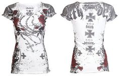 Archaic AFFLICTION Womens T-Shirt LA FLOR Roses Tattoo Biker UFC Sinful S-L $40