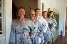 Set of 5 SATIN Bridesmaid Robes Silk Bridal Party Robe Gift Shower ~ Monogrammed Personalized~ Grey Bridesmaid Robes, Brides And Bridesmaids, Bridal Party Robes, Dream Wedding, Wedding Photography, Wedding Ideas, Wedding Pictures, Wedding Stuff, Wedding Planning