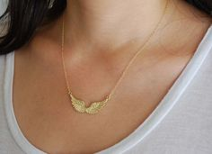 JENNYandJUDE Angel Wing Necklace. Gold Fill. [December 2013]