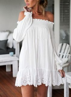 white dress, styling white dress, off the shoulder dress, ruffled dress, summer style Cute Dresses, Casual Dresses, Cute Outfits, Summer Dresses, 30 Outfits, Mini Dresses, Jean Outfits, School Outfits, Short Dresses
