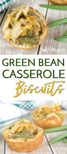 Green Bean Casserole Biscuits - a fun twist on the classic Thanksgiving dish! via @slavila