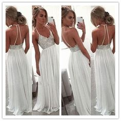 White Chiffon Sequin Long Prom Dress For Teens Backless Long Prom Dresses