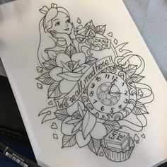 Client wasn't feeling the Alice design in my style this morning so I've completely redrawn it differently and now it's available! Email or DM if you're interested in booking  Alexrowntreetattoo@gmail.com  Thanks! #disneytatts #disney #aliceinwonderlandtattoo #aliceinwonderland #disneytattoos #northernglory