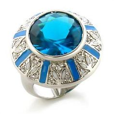 Silver Aquamarine Deco Cocktail Ring Enamel Flowers Blue Cubic Zirconia Size 7  #Unbranded #Cocktail
