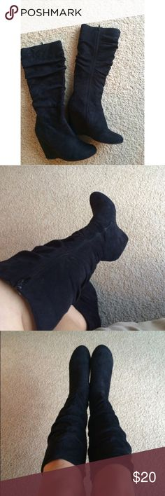 Black suede boots 🖤 Worn once. Good condition. Not from forever 21 Forever 21 Shoes Heeled Boots