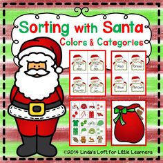 Sorting with Santa is an engaging activity that can be used to introduce youngsters to sorting by color and/or categories. The object is for children to match a picture card with the correct sorting sack and tell why they go together. $