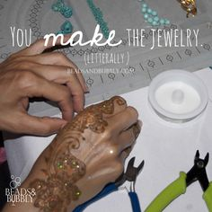 You make the jewelry. #BeadHappy | Beads & Bubbly host social jewelry making events. Attendees create their own piece of jewelry designed by local artisans at bars and restaurants.  jewelry, quotes, motivational, inspirational, love, happy, wedding, marriage, women, smile, fashion