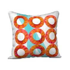 Orange Aqua Pillow Printed Cover Case Lumbar Abstract Modern... ($30) ❤ liked on Polyvore featuring home, home decor, throw pillows, tangerine throw pillows, aqua blue throw pillows, orange toss pillows, orange home decor and square throw pillows