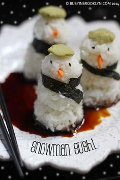 Snowman Sushi from @Busy In Brooklyn is the most adorable thing I ever saw.  Love their hats (kippas?)