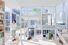 "Photo by Iwan Baan of Sou Fujimoto's award winning Tokyo ""glass house"". I like the style and the concept of ""Floor Plates"" (or living areas) but I am not so outgoing as to feel comfortable in a home with such exposure. Would feel like the great outdoors perhaps."
