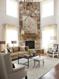 Furniture Placement Around Corner Fireplace. Find ideas and inspiration for Furniture Placement Around Corner Fireplace to add to your own home. Living Room With Fireplace, New Living Room, Fireplace Art, Fireplace Stone, Stone Mantle, Fireplace Ideas, Fireplace Design, Small Living, Living Area