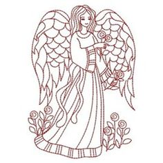 Redwork Love Angel embroidery design