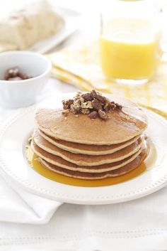 Epicurean Mom: Healthy Whole Wheat Pancakes and Pecan Butter Topped with Glazed Pecans