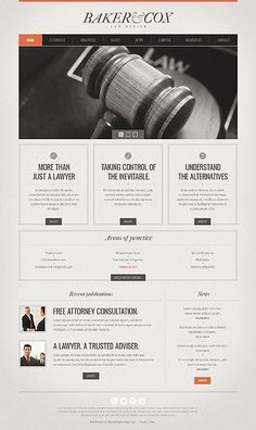 fonts, style - not color Nice and Simple Web Design Template for Lawyers. Great Website Design, Simple Web Design, Website Layout, Web Layout, Website Designs, Vintage Web Design, Lawyer Website, Homepage Design, Freelance Graphic Design