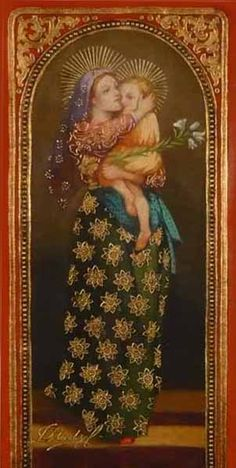 Madonna and child The spiritual art of Diana Mendoza Blessed Mother Mary, Divine Mother, Blessed Virgin Mary, Religious Images, Religious Icons, Religious Art, Images Of Mary, Queen Of Heaven, Mama Mary