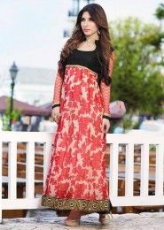 Casual Wear  Georgette Peach Embroidered Work Anarkali Suit
