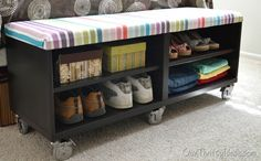 Our Thrifty Ideas | #DIY Uphostered Bench out of a shelf unit from IKEA; look at CASTERS