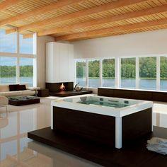 Jacuzzi Hot Tubs and Baths Mini Piscina, Dream Home Design, House Design, Spas, Spa Jacuzzi, Relax, Bathroom Spa, My Living Room, Corner Bathtub