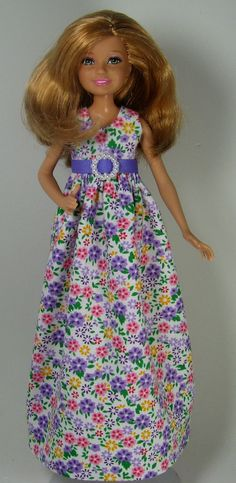 Stacie Doll Clothes Long Lavender Floral by OhSoChicDollClothes, $8.50