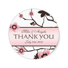 Cherry Blossom Modern Wedding Thank You Stickers