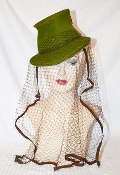 30s 40s Vintage Green and Brown Tilt Hat with by MyVintageHatShop