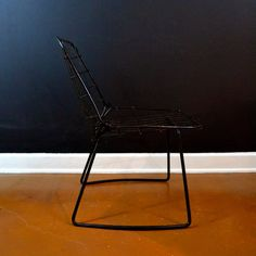 Vintage Wire Side Chair Mid Century Black by ThoughtCakeLiving