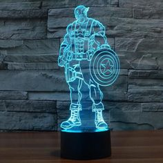 Hot NEW 7color changing 3D Bulbing Light Captain America Civil War visual illusion LED lamp action figure toy Christmas gift