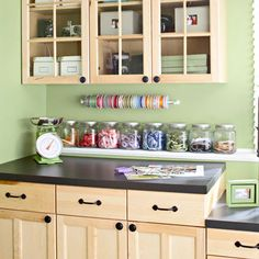 Clutter-Free Craft Room - I need a complete makepover in the sewing room. Love this storage space idea. Sewing Room Storage, Craft Room Storage, Sewing Rooms, Room Organization, Business Organization, Garage Storage, Space Crafts, Home Crafts, Craft Space