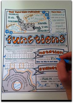 """""""doodle notes"""" for functions, domain & range, etc.... right brain / left brain crossover for better learning, focus, & retention in math class (algebra)"""