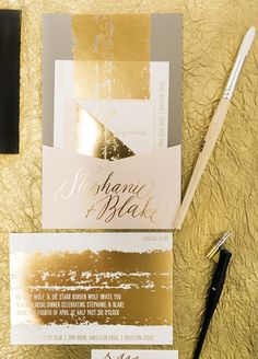 If we're going to do gold foil, I love the idea of knocking the print out of a larger swath of gold!