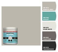 """Martha's Bedford gray or Sherwin Williams Mindful Gray... plus, I love that teal color that is very close to """"Martha Blue"""" (I don't know the name of Martha's blue, but it's her signature color)"""