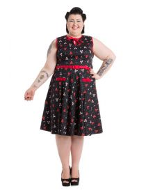 Voodoo Vixen Rockabilly 50S Vintage Plus Size Bowling Dress: Momovintage presents. Voodoo Vixen Vintage Rockabilly Retro Plus Size Dress Great quality, This is our winning style and Bowling print.  Pleated skirt and shirt style upper part is a true vintage jewel. Ideal For Events and Party. Price: £52.99