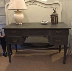 Vintage Black Hand Painted Writing Desk by CrownCottageSomerset