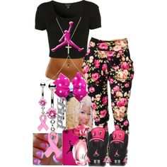 A fashion look from December 2013 featuring topshop shirts, flower print pants and dangling jewelry. Browse and shop related looks. Jordan Outfits For Girls, Teenage Outfits, Teen Fashion Outfits, Outfits For Teens, Girl Outfits, Fashion Clothes, Fashion Women, Women's Fashion, Cute Swag Outfits