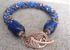 Royal Blue and Copper Crystal Kumihimo by delphistreasures on Etsy, $52.00