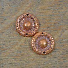 Handmade Copper Filigree 2 hole (1 pair)