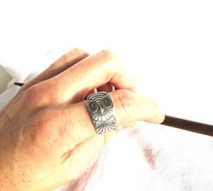 Owl Ring, Wide Ring, Thumb Ring, Recycled Spoon, Antique Spoon Ring, Silver Owl Ring, Gift Idea, Handmade Jewelry, Owl Jewelry, Owl Gift