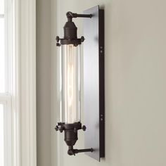 Shop industrial wall lights from Shades of Light! Browse popular industrial sconce styles, like brass sconces, matte black sconces, cage wall sconces, and more. Industrial Light Fixtures, Industrial Lighting, Industrial Style, Dim Lighting, Sconce Lighting, Basement Lighting, House Lighting, Lighting Design, Track Lighting