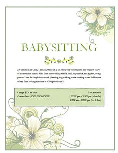 babysitting flyer with green flowers flyer free free flyer templates babysitting flyers babysitter