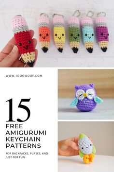 15 Free Must-Make Amigurumi Keychains for Bags Purses and Keys Easy and free crochet keychain patterns just in time for Back To School These free crochet patterns for amigurumi keychains and mini bag charms will Crochet Keychain Pattern, Crochet Amigurumi Free Patterns, Crochet Animal Patterns, Quick Crochet Patterns, Crochet Stitches, Crochet Gifts, Cute Crochet, Easy Crochet, Easy Things To Crochet