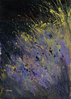 Abstract landscape original painting - Midnight grasses - Paul Bailey
