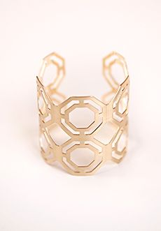 "Homecoming Trunk Shows - Deco-inspired geometric cutouts lend understated sophistication to this cuff bracelet. Available in Gold and Silver tones.    Approx. cuff diameter: 2 1/4""  Can be conformed to fit most wrists  Gold/Silver toned metal  Lead and Nickel Free  Imported $28 www.cwickline.shophts.com"
