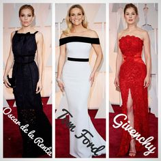 Our favourite #redcarpet looks from the #Oscars2015 were simple and sleek. #SiennaMiller in @oscarprgirl, #ReeseWitherspoon in @tomford and #RosamundPike in @givenchyofficial #celebrity #designer #style #fashion #awards #dress