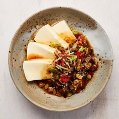 Caponata' with silken tofu: Yotam Ottolenghi's fusion feast - recipes Cooked Chicken Recipes, Veggie Recipes, Seafood Recipes, Asian Recipes, Vegetarian Recipes, Cooking Recipes, Ethnic Recipes, Veggie Food, Veggie Dinner