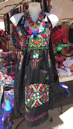 Mexican Traditional Embroidered Halter Dress