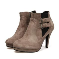 SUEDE UPPER BUCKLE STRAP DESIGN ANKLE BOOTIES PRICE  $36.99  #boots #shoes